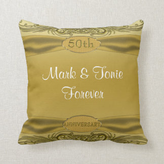 Golden Scrolls 50th Wedding Anniversary Cushion