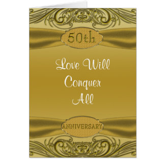 Golden Scrolls 50th Wedding Anniversary Greeting Card