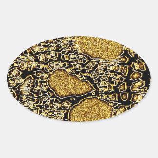 Golden Scull Oval Sticker