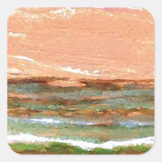 Golden Sea CricketDiane Ocean Waves Art Square Sticker