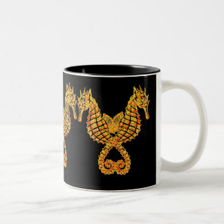 Golden Seahorses Two-Tone Coffee Mug