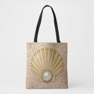 Golden Seashell & Pearl Gold Faux Glitter Tote Bag