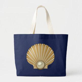 Golden Seashell Pearl Large Tote Bag