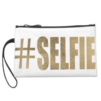 Golden Selfie Suede Wristlet