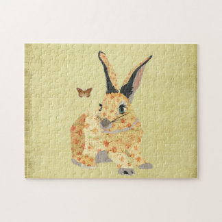 Golden Shabby Floral Bunny Puzzle