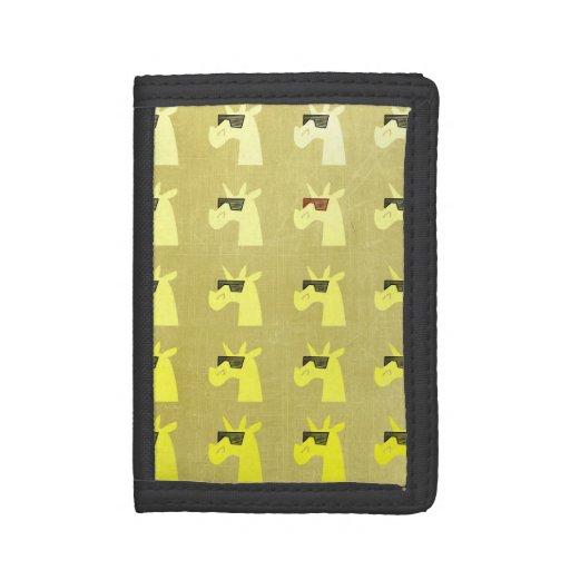 Golden Shades of Unicorn Tri-fold Wallets