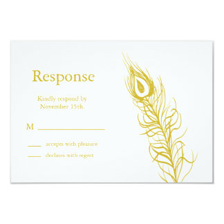 Golden Shake your Tail Feathers RSVP 9 Cm X 13 Cm Invitation Card