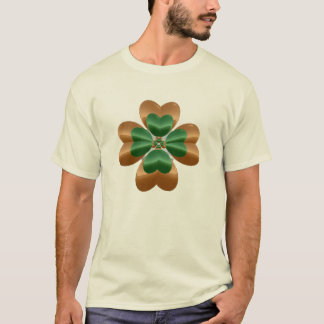 Golden Shamrock Over Light T-Shirt