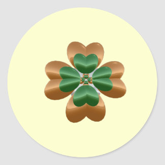 Golden Shamrock Round Sticker