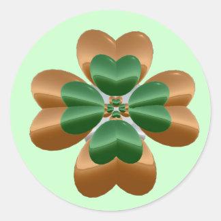 Golden Shamrock Round Sticker