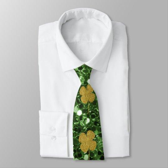 Golden Shamrocks Green Faux Glitter Tie