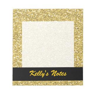 Golden Shimmer Glitter Notepad