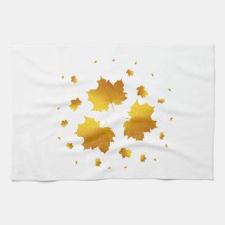 Golden Shimmer Maple Leaf Tea Towel