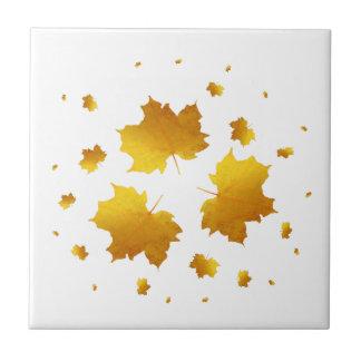 Golden Shimmer Maple Leaf Small Square Tile