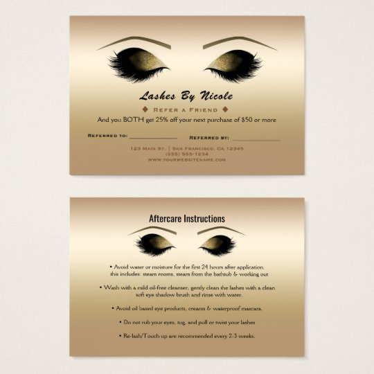 Golden Shimmer Pearl Lashes Refer Friend Aftercare Business