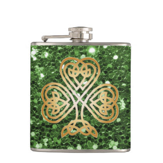 Golden Shining Celtic Shamrock Green Faux Glitter Hip Flask