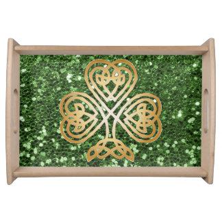 Golden Shining Celtic Shamrock Green Faux Glitter Serving Tray