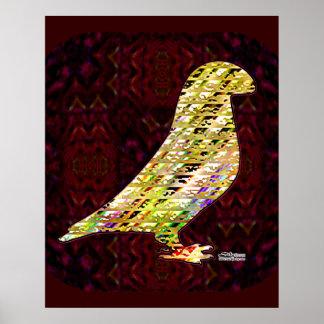 Golden Show Racer Pigeon Poster