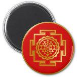 Golden Shree Yantra 6 Cm Round Magnet