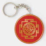 Golden Shree Yantra Key Chains