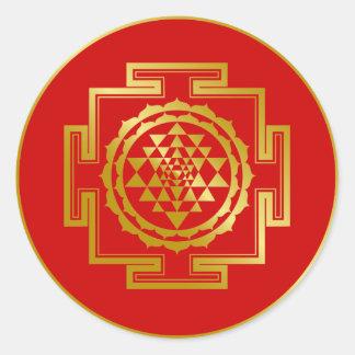 Golden Shree Yantra Round Sticker
