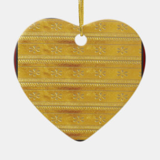 Golden Silk Fabric Template DIY add GREETING PHOTO Ceramic Heart Decoration