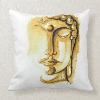 "GOLDEN & SILVER BUDDHA FACE Throw Pillow 20"" x 20"""