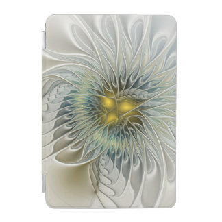 Golden Silver Flower Fantasy abstract Fractal Art iPad Mini Cover