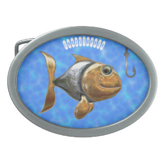 Golden Silver Sparkling Fish With Fishing Hook Belt Buckles