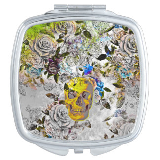 Golden Skull Square Compact Mirror