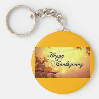 Golden Sky and Leaves Happy Thanksgiving Key Ring