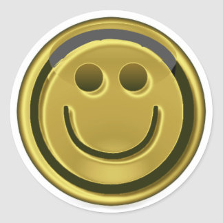 Golden Smiley-Face Round Stickers