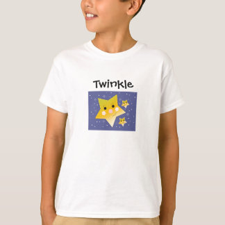 Golden Smiley Stars on a Blue Sky Background T-Shirt