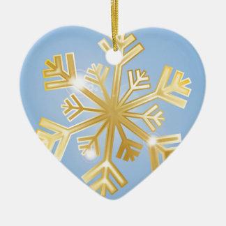 Golden Snowflake Ceramic Heart Decoration