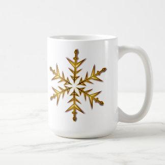 Golden Snowflake Christmas Mug