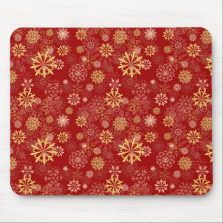 Golden Snowflake Mouse Pads