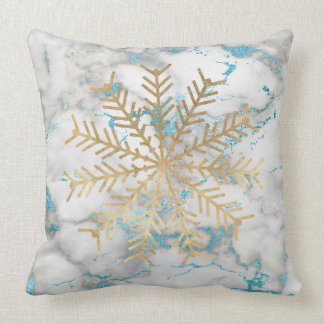 Golden Snowflakes Blue Gray Marble Holidays Vip Throw Pillow