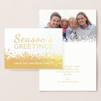 Golden Snowflakes Christmas Holiday Foil Photo Foil Card