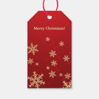 Golden snowflakes on red Christmas Gift Tags