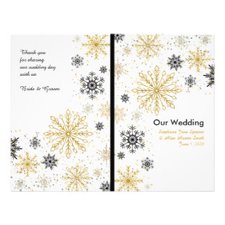 Golden Snowflakes Winter Wedding Programs 21.5 Cm X 28 Cm Flyer