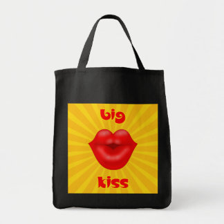 Golden Solar Rays Red lips big kiss Tote Bags