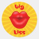 Golden Solar Rays Red lips big kiss Round Sticker