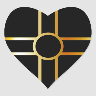 Golden southern cult solar cross symbol heart sticker