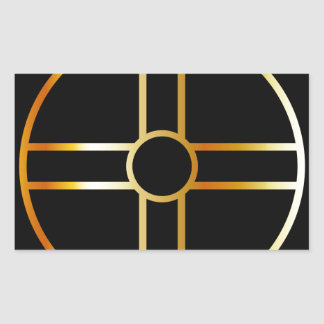 Golden southern cult solar cross symbol rectangular sticker