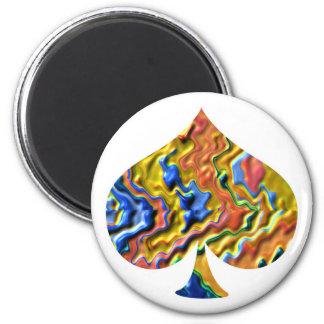Golden Spade - Poker Fan 6 Cm Round Magnet