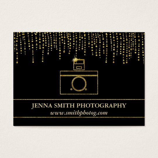 Golden Sparkle and Glitter Photographer Camera Business Card