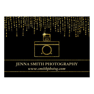Golden Sparkle and Glitter Photographer Camera Pack Of Chubby Business Cards
