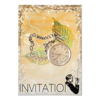 Golden Sparkling Clock Perals Gentelmen Invitation