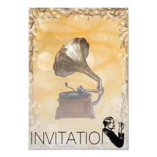 Golden Sparkling Gramophone Gentelmen Invitation