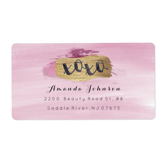 Golden Sparkly XOXO Pink Blush Watercolor Stroke Shipping Label